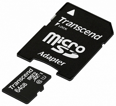Карта памяти Transcend Micro SDHC Card 64GB class10 U1 w/adapter (TS64GUSDU1)